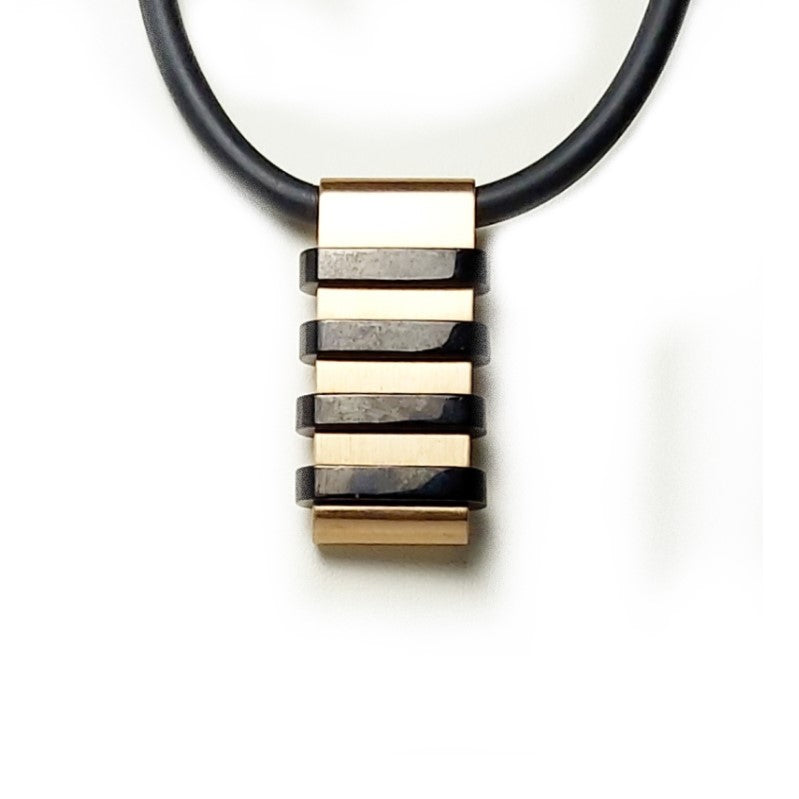 Stainless Steel Gold and Black Plated Pendant on Leather Necklace - Theodore Designs