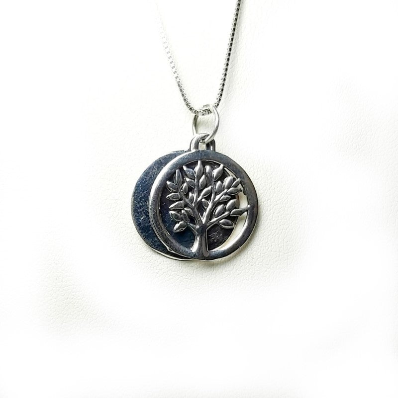 Theodore Sterling Silver Two Disk Tree of Life Pendant - Theodore Designs