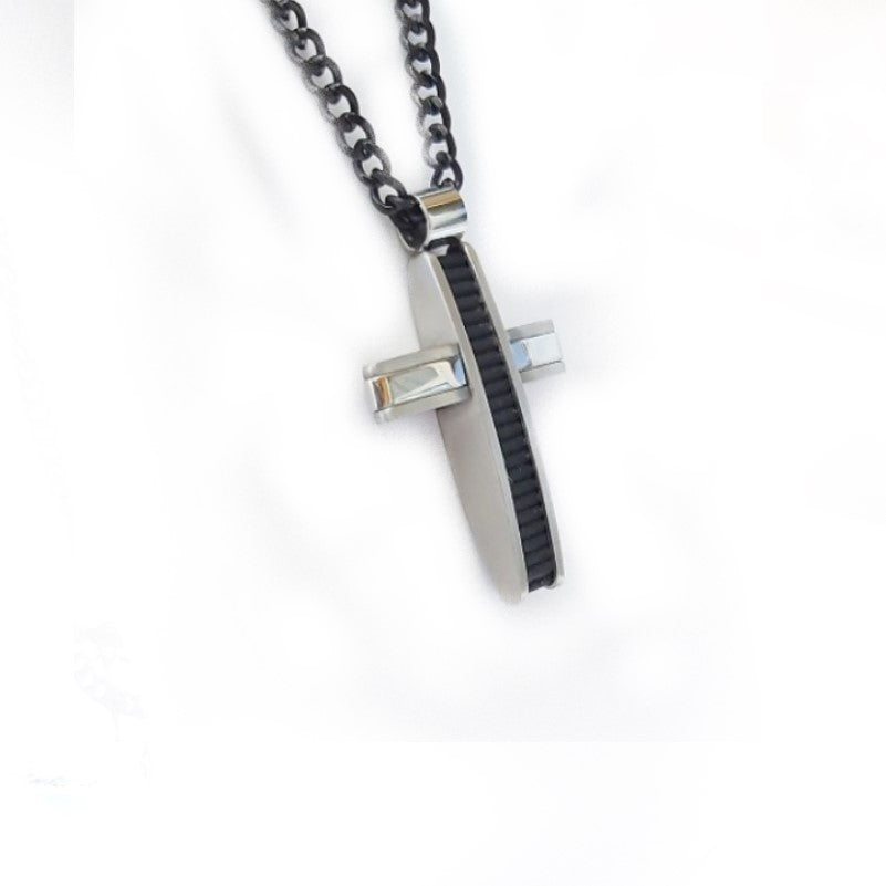Stainless Steel  and Black Rubber Cross Pendant - Theodore Designs