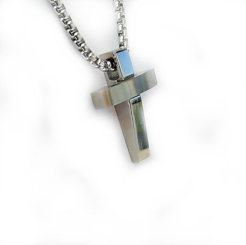 Polished Stainless Steel Cross Pendant - Theodore Designs