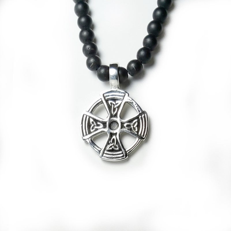 Theodore Black Agate and Celtic Cross Beaded Necklace - Theodore Designs