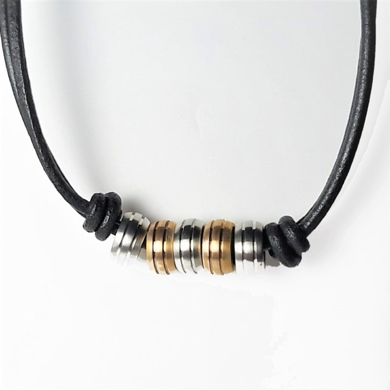 Stainless Steel Leather and Beads Necklace - Theodore Designs