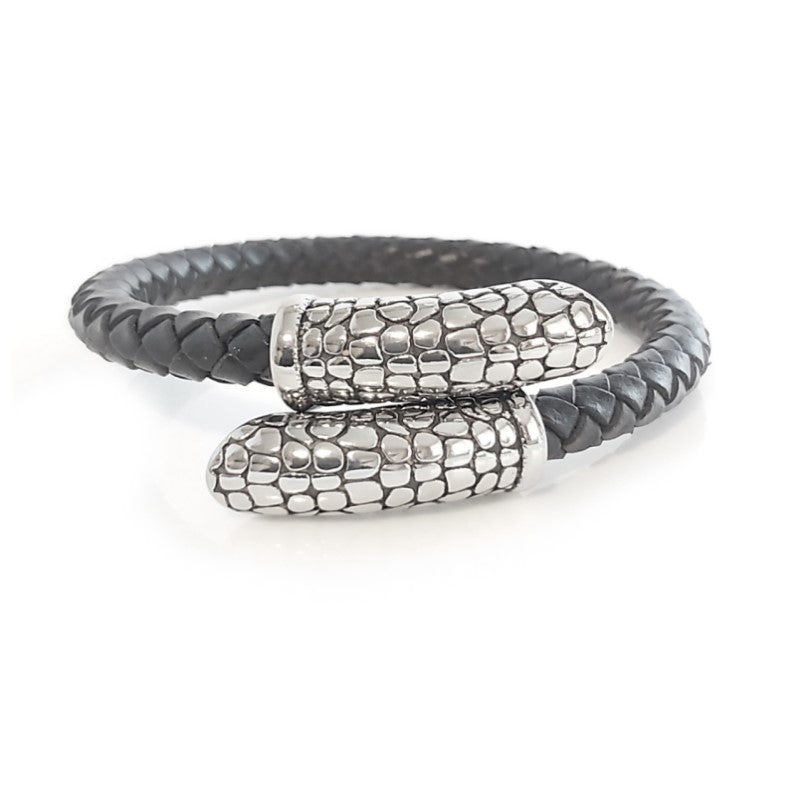 Theodore Stainless Steel Leather Cuff Bangle - Theodore Designs