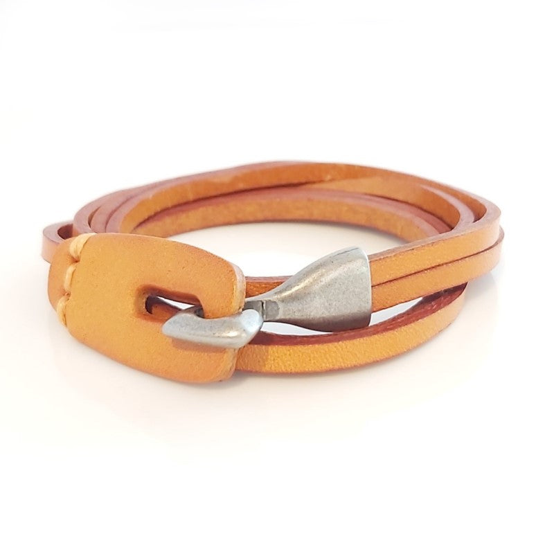 Theodore Stainless Steel Genuine Leather Bracelet - Theodore Designs