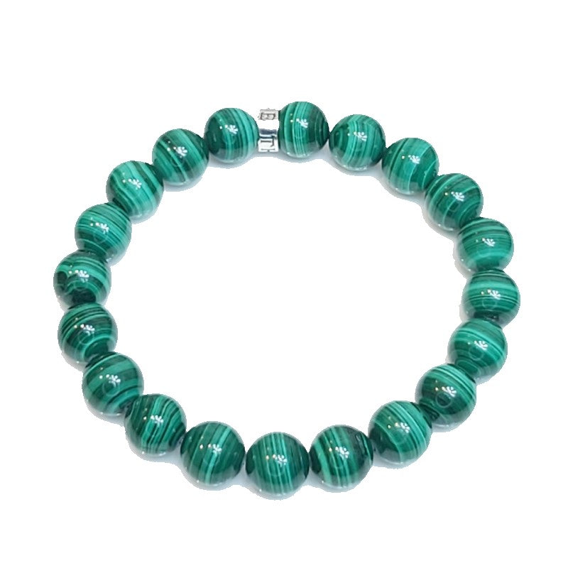Theodore  Natural Green malachite with Silver Bead Bracelet - Theodore Designs