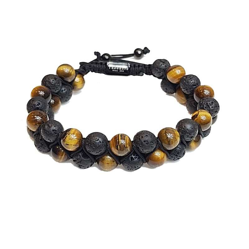 Theodore Tiger Eye and Lava Double Beaded Bracelet - Theodore Designs