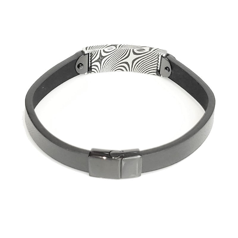 Theodore Damascus Steel Black Plated ID with Black Leather Bracelet - Theodore Designs
