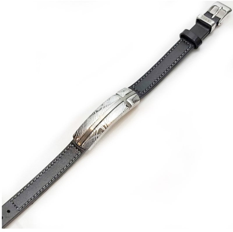Black  Leather and Damascus Stainless Steel Bracelet - Theodore Designs