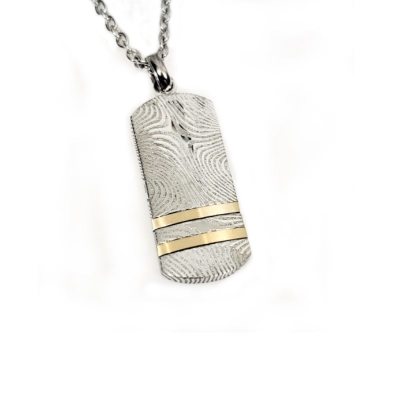 Theodore Damascus Stainless Steel Dog Tag Pendant - Theodore Designs