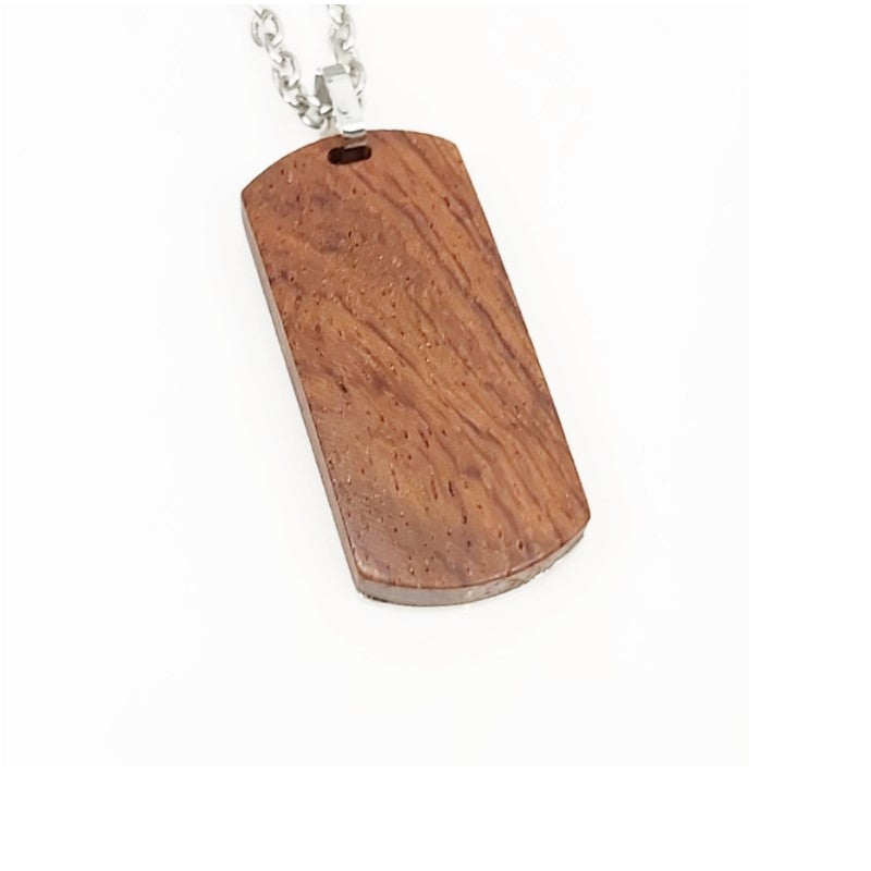 Theodore Stainless Steel  and Tiger Wood Pendant - Theodore Designs
