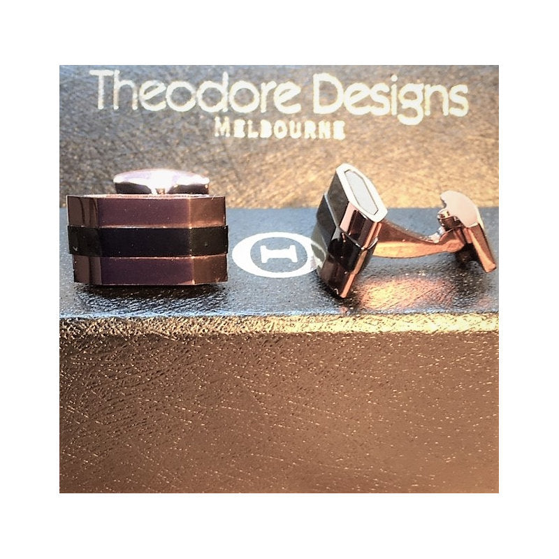 Cudworth Stainless Steel Black Ion and Gunmetal Cufflinks - Theodore Designs
