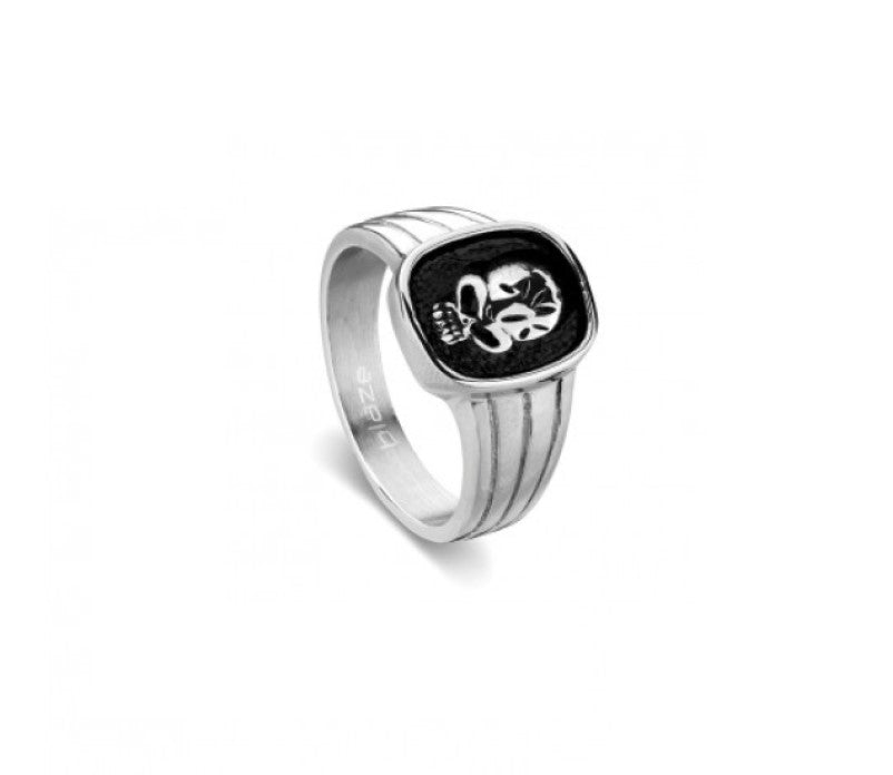 Stainless Steel men's skull detail ring - Theodore Designs