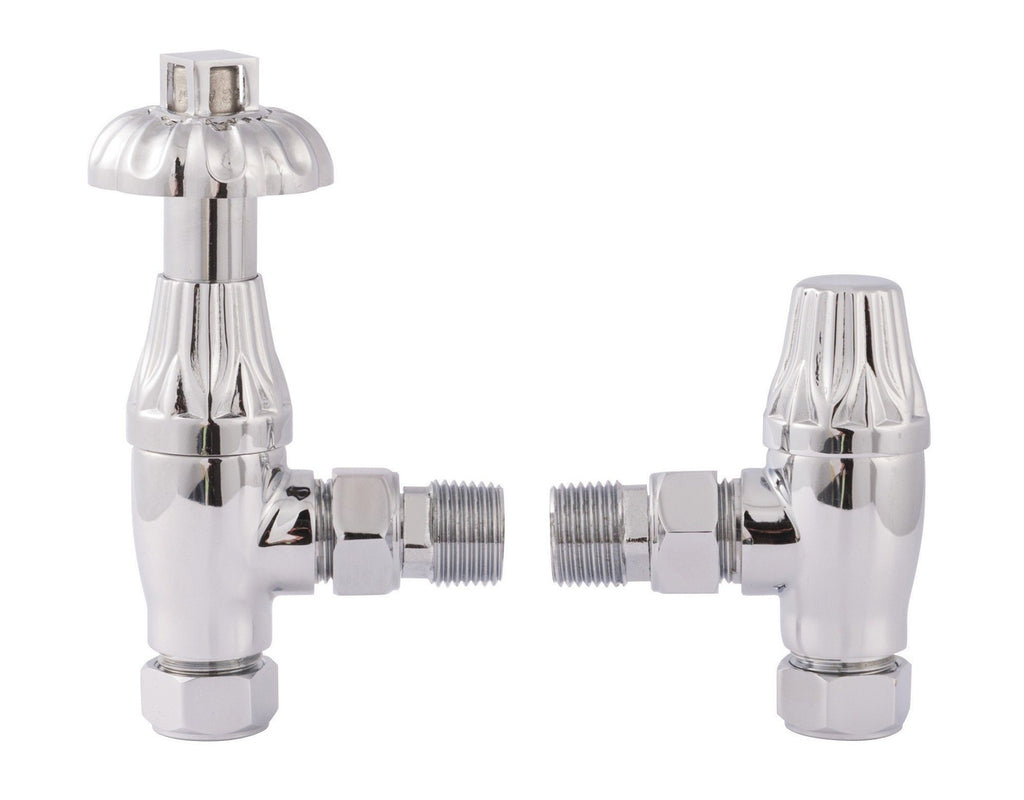 HeatQuick Period Style Westminster Angled Thermostatic Radiator Valves - TRV and Lockshield