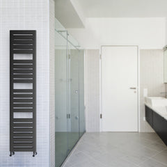 Terma Salisbury Designer Radiator Towel Warmer Ladder Rail in Metallic Black. Stylish Contemporary Modern Design.