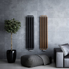 Terma Ribbon Vertical Designer Radiator in Copper Metallic Black and heban. Efficient heating solution, stylish modern and contemporary design