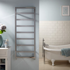 HeatQuick Hazel Chrome Designer Towel Rail | Ladder Style Bathroom Radiator
