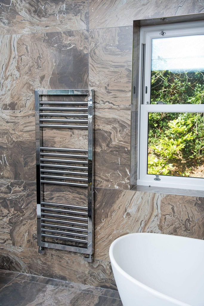HeatQuick Rowan Chrome Designer Towel Rail | Ladder Style Bathroom Radiator