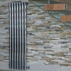 HeatQuick Pine Chrome Vertical Designer Radiator | Space Saving Radiator
