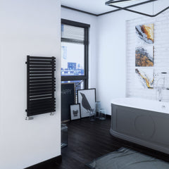 Terma Quadrus Bold Designer Radiator Towel Warmer Ladder Rail in Metallic Black. Stylish, modern, contemporary design.