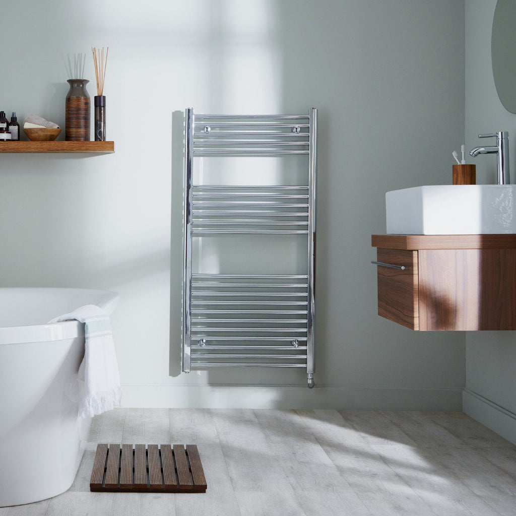 HeatQuick Juniper Thermostatic Electric Chrome Towel Rail