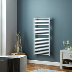 Square Chrome Designer Towel Rail | Ladder Style Bathroom Radiator