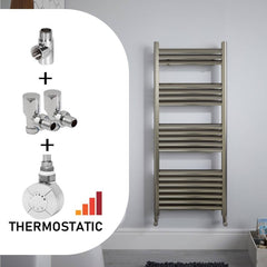 Champagne Dual Fuel Towel Rail in Brushed Aluminium | Dual Fuel Kit | Thermostatic Heating Element + Valves + T-Piece