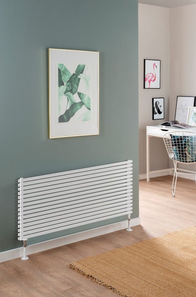 DQ Cube Double White Horizontal Radiator