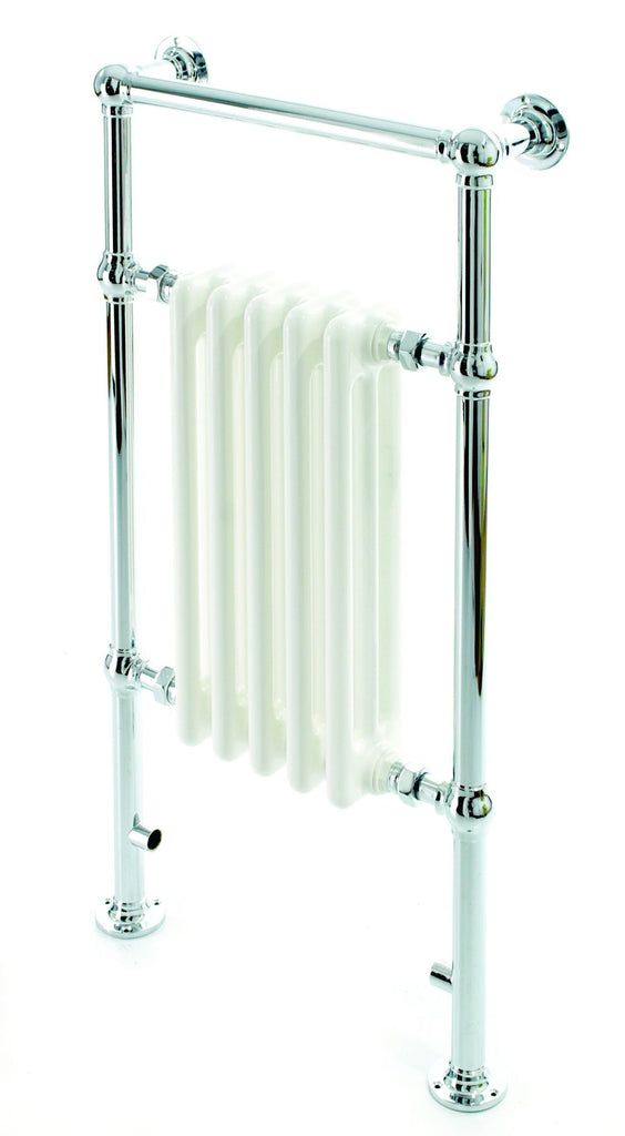 DQ Lynford Traditional Chrome & White Towel Radiator