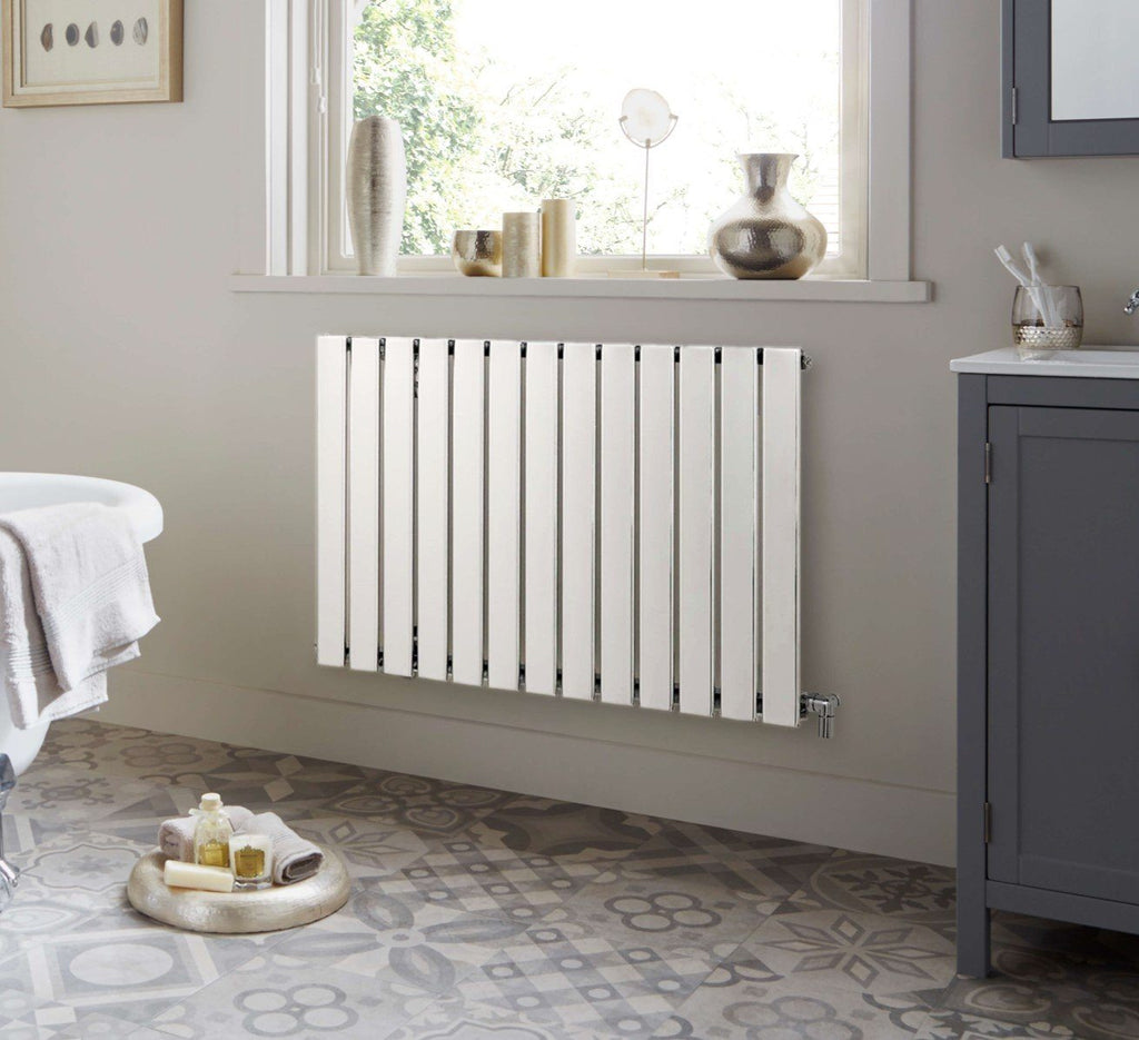 HeatQuick Spruce White Designer Horizontal Radiator  | Single Panel Radiator