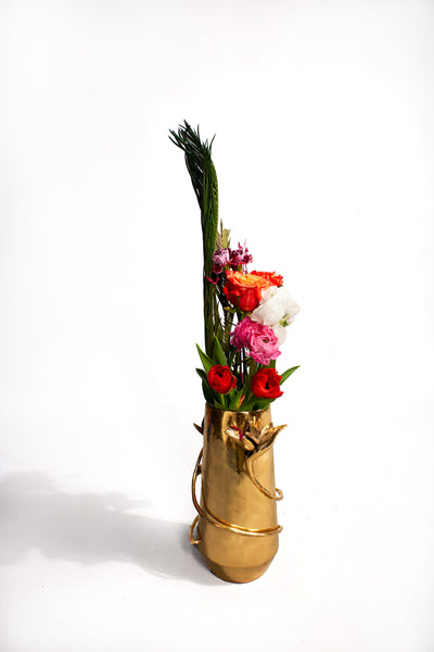 Luxury brass flower vase made in Nigeria.