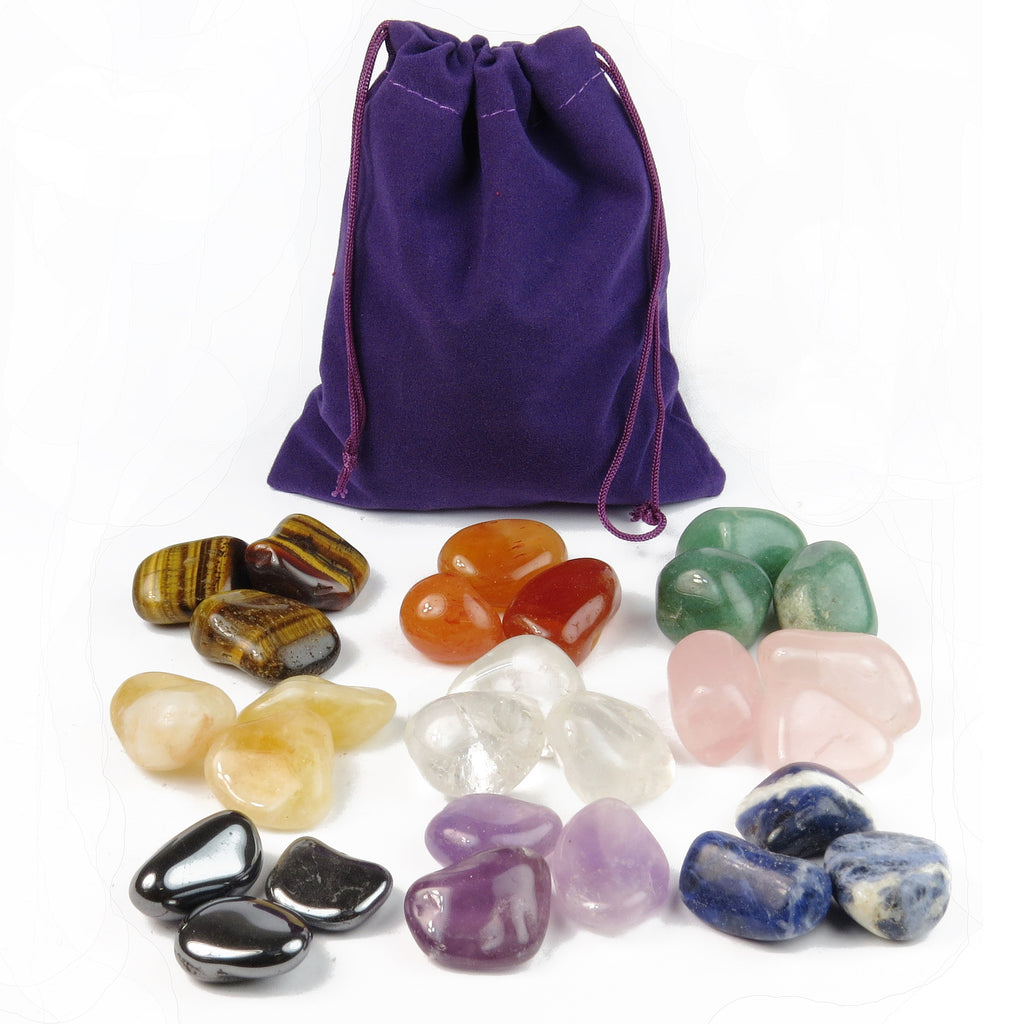 Pouch with 18 Tumbled Gemstones