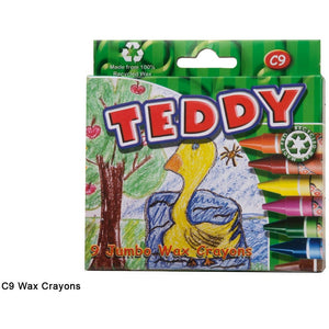 Teddy Jumbo Wax Crayons 9 Piece-DRAWING & COLOURING-Brush and Canvas