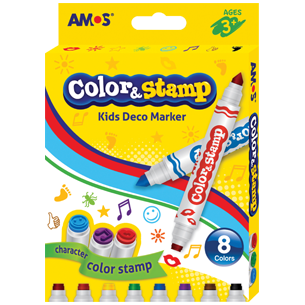 Amos Color & Stamp 8 Piece-Drawing & Colouring-Brush and Canvas