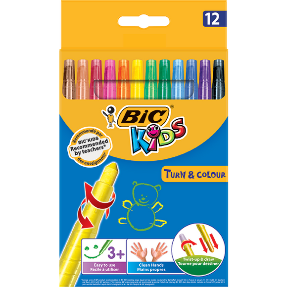 Bic Turn & Colour - 12 Pack-DRAWING & COLOURING-Brush and Canvas