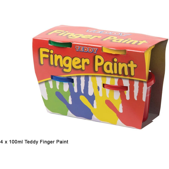 Teddy Finger Paint Kit 4 colours x 100ml-Painting-Brush and Canvas