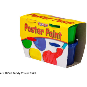 Teddy Poster Paint Kit 4 colours x 100ml-Painting-Brush and Canvas