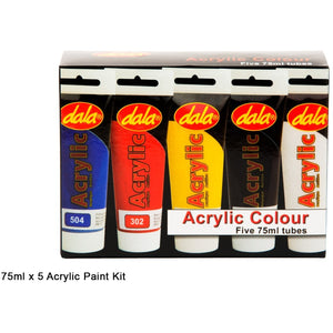 Dala Acrylic Starter Pack 5 x 75ml-Starter Kits & Sets-Brush and Canvas