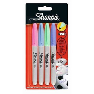 Sharpie Assorted Fine Pastel - 4 Pack-Fibre & Felt Tips-Brush and Canvas