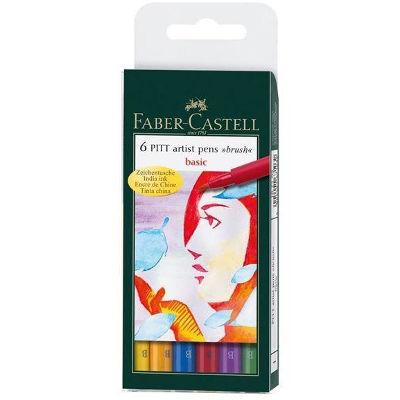 Faber-Castell Pitt Artist Brush Pen Wallets of 6-Art Pens-Brush and Canvas