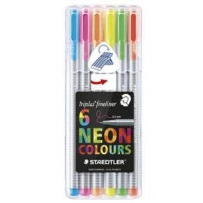 Staedtler Triplus Neon Plastic Box Set of 6-Fineliners-Brush and Canvas