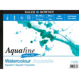 Daler-Rowney Aquafine Watercolour Pad HOT Pressed Texture 300gsm-Watercolour Pads-Brush and Canvas