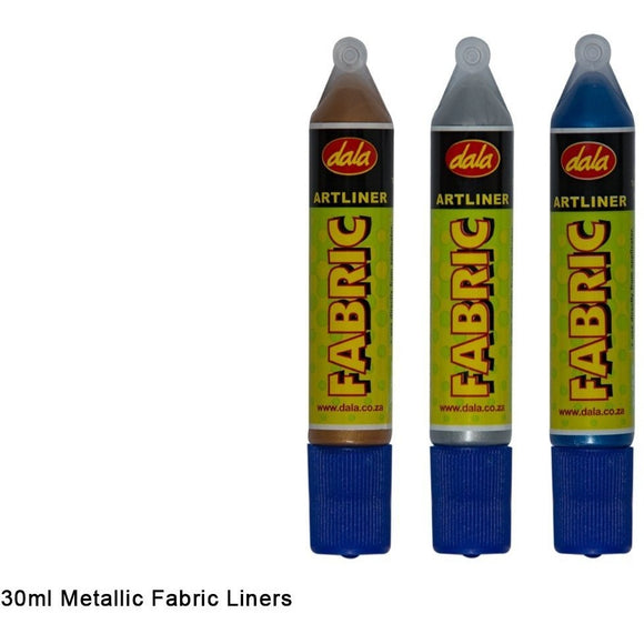 Dala Fabric Liner Pen Metallic Colours 30ml-Fabric Paints-Brush and Canvas