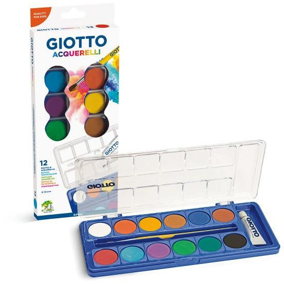 Giotto Watercolour Blocks 30mm - 12 colours-Painting-Brush and Canvas
