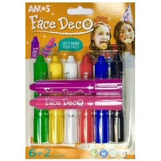 Amos Face Paint 8 Colours-Face Paint-Brush and Canvas