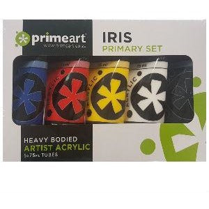 Iris Acrylic Primary Paint Set 5 x 75ml-STARTER KITS & SETS-Brush and Canvas