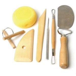 Pottery Set 8 Piece-Lino / Pottery / Wood-Brush and Canvas