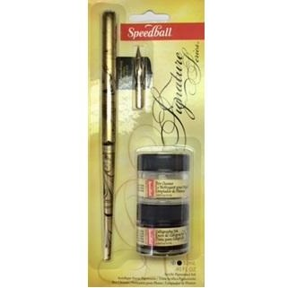 Speedball Signature - Gold Plated-Calligraphy-Brush and Canvas