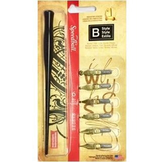 Speedball Style B - 6 Nibs-Calligraphy-Brush and Canvas