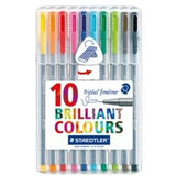 Staedtler Triplus Plastic Box Set of 10-Fineliners-Brush and Canvas