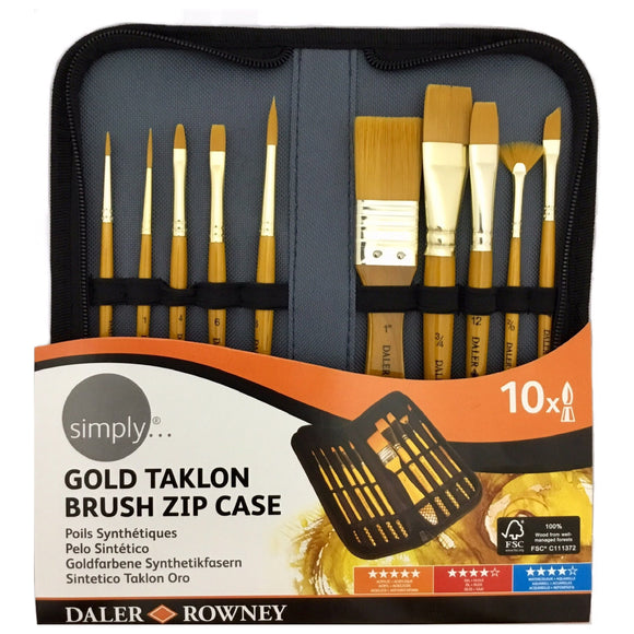 DALER-ROWNEY Gold Taklon Brush Zip Case Set